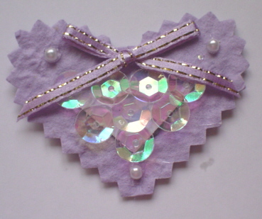 Lilac Sequined Heart Topper